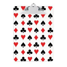 Card Suits Clipboard on CafePress.com - $24.50 - Card Suits Clipboard - by #RGebbiePhoto @ cafepress - #poker #suits #wallpaper - Heart, Club, Spade and Diamond in Red and Black. Poker players or card players will enjoy this repeating pattern. Great for Las Vegas theme gambling nights, or just for fun!