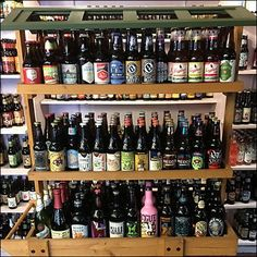 goldsteins craft beer wood cart display - Beer Merchandiser