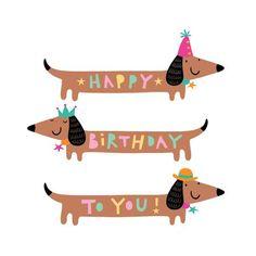 dachshund happy birthday illustration: