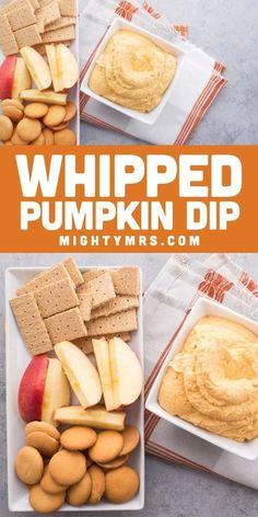 Fall Party Snack, Whipped Pumpkin Dip | Fall appetizers easy, Whipped pumpkin, Fall appetizers, Good Healthy Recipe Fall Appetizers, Easy Appetizer Recipes, Snack Recipes, Appetizers For Thanksgiving, Healthy Appetizers, Pumpkin Deserts, Pumpkin Dip, Pumpkin Waffles, Pumpkin Cookies
