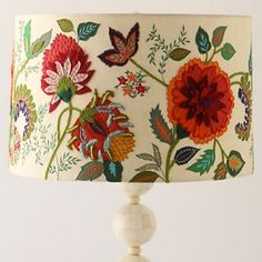 Embroidered lamp shade http://Anthropologie.com/