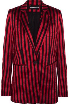 Ann Demeulemeester - Striped Satin And Twill Blazer - Claret - FR40
