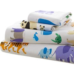 Pandas, whales, tigers, sea turtles all of these adorable animals inhabit Endangered Species bedding. Each creature on this cuddly design represents an endangered species in need of protection. The 100% cotton sheets feature mothers and babies on a crisp white ground. Includes 1 flat sheet, 1 fitted sheet, and 2 pillow shams.