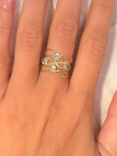 HOLIDAY SALE  Opal ring Opals gold ringbirthday door KarelliJewelry, ₪79.00