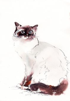 Cat Painting Original Watercolor Painting Cat by CanotStop on Etsy