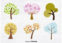 Set of trees in different seasons.