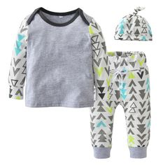 Such a fun and cute outfit set for baby boys. This 3 piece set includes one long sleeve shirt, one pair of printed pants, and one matching baby hat.