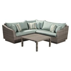 Cannes 4-Piece Wicker Patio Sectional Conversation Furniture Set
