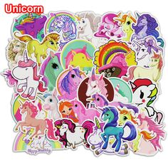 [ 30% Off ] 30 Pcs Colorful Cute Unicorn Stickers for Laptop Car Styling Phone Luggage Bike Motorcycle Mixed Cartoon Pvc Waterproof Sticker