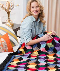 Tumbling Blocks Throw #redheartyarns #crochet #withlove