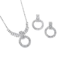Rhinestone Circle Pendant and Earrings Set  Everything But The Wedding Dress, www.EverythingButTheWeddingDress.com