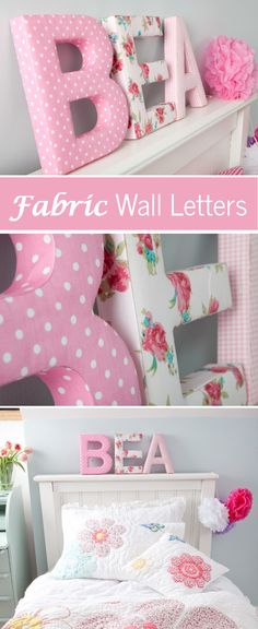 These sturdy fabric covered wall letters in shades of pink would look great in a…