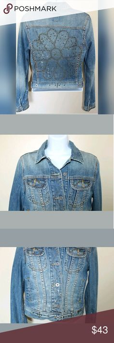Lucky Brand Denim Bedazzled Flower Power Jacket S Brand: Lucky Brand  Size: Small  Style: Unique, Funky, Floral Hippie Comfortable Jean Jacket.?  Color: Denim Blue - Damage distressed indie blue Style.?  Condition: Excellent Used Condition. One teeny tiny stain. See all photos.?  ** 2 Frontal Pockets   Measurements are taken laid flat and are approximate:  Armpit to Armpit: 44 cm?  Waist: 41.5 cm?  Length (back of neck down): 46 cm? Lucky Brand Jackets & Coats Jean Jackets