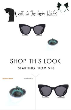 """""""A cat is the new black"""" by underlyingsimplicity ❤ liked on Polyvore featuring interior, interiors, interior design, home, home decor, interior decorating, Karen Walker and vintage"""
