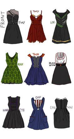 The Avengers, Loki, Thor, Iron Man, Nick Fury, The Hulk, Black Widow, Hawkeye, Agent Coulson, Captain America, Dresses, Fan Art,