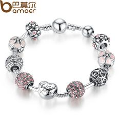 BAMOER Antique 925 Silver Charm Bangle & Bracelet with Love and Flower Crystal Ball Women Wedding Valentine's Day Gift PA1455