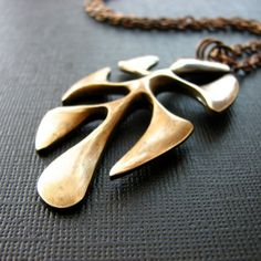 Vintage brass necklace organic shape leaf charm by noblegnome, $42.00