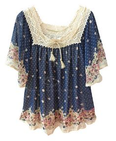 Preppy Style Tiny Polka Dot Lace Hem Loose Fit Women's Chiffon Blouse, BLUE, ONE SIZE in Blouses | DressLily.com