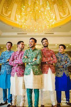Groom Wear - The Dapper Groom! Wedding Kurta For Men, Wedding Dresses Men Indian, Wedding Dress Men, Wedding Men, Wedding Sherwani, Wedding Outfits, Wedding Card, Gold Wedding, Sangeet Outfit