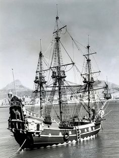 a Replica of Jan van Riebeeck's ship in Table Bay during the Van Riebeeck festival in 1952.