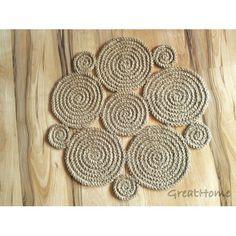 Small Flower Crochet natural jute rug Braided rug,