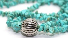 Turquoise Nuggets and Nomadic Silver Bead Necklace | AyaDesigns - Jewelry on ArtFire