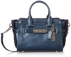#smil #pretty Finished by hand in refined #metallic blue leather with a soft glow and a wonderfully pebbled texture, This mini carryall gets its Swagger from sta...