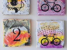 bicycle painting violet number two original mixed by eeliethel, $99.00