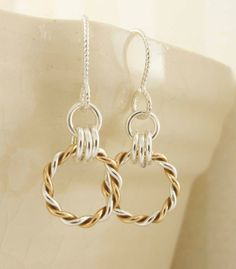 Single Twist Sterling Silver and Brass Earrings by unkamengifts, $25.00
