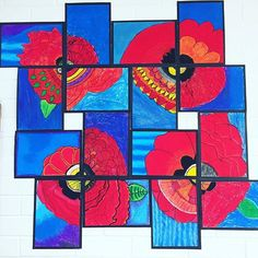 With ANZAC Day coming up soon, I thought I'd share my two favourite poppy artworks I've done with my students over the last few years! Remembrance Day Art, Anzac Day, Library Displays, Art Activities, Art School, Art Lessons, Poppies, Projects To Try, Thoughts