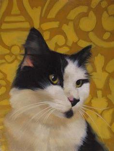 "Daily Paintworks - ""Dapper Dan black & white cat from Cleveland APL"" - Original Fine Art for Sale - © Diane Hoeptner"