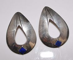 Signed LAW, BOLD Navajo Indian Sterling Silver Blue Lapis Pear Cut Out Earrings