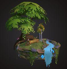 ArtStation - Mini Diorama, S. Lim William Higinbotham developed an analogue computer with vacuum Bg Design, Game Design, Environment Concept Art, Environment Design, Fantasy Landscape, Fantasy Art, Isometric Art, Hand Painted Textures, Modelos 3d