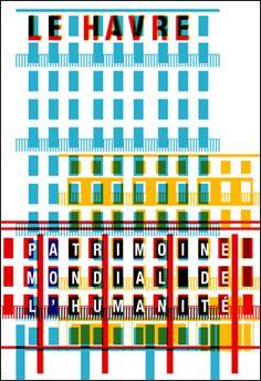 Affiche pour la ville du Havre, patrimoine mondial de l'humanité par Apeloig.