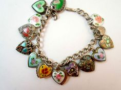 Vintage enameled hearts