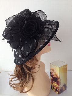 2014 Newest Women's Sinamay Black with Polka by derbychurchhats, $49.99