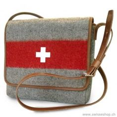 A shoulder bag produced und designed with swiss army recycling material.