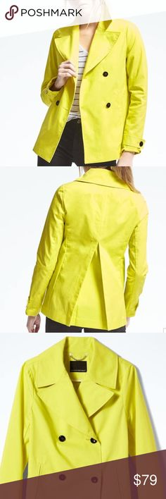 """NWT Banana Republic Double-Breasted Mac Jacket Brand New with Tags Double-Breasted Mac Jacket in Yellow. Our short swing coat is the perfect topper for everything from a polished sheath to skinny jeans. Long sleeves with button tabs at cuffs. Oversized collar and lapel. Double-breasted button closure. Exterior pockets. Inverted back pleat. 100% Cotton. Machine wash. Hits at the hip. Coat length: 27"""". Banana Republic Jackets & Coats Trench Coats"""