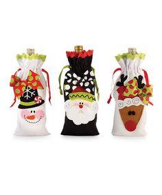 Look at this #zulilyfind! Black & White North Pole Linen Wine Bag Set #zulilyfinds