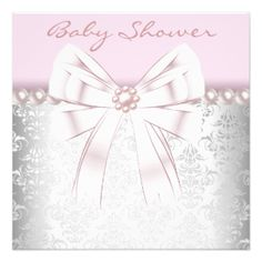 "Pink Pearls Pink Damask Baby Shower 5.25"" Square Invitation Card"