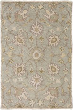 Caesar Beige Light Gray Forest Wool Area Rug - 24 x 36