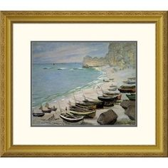 Global Gallery 'Boats on the Beach at Etretat, 1883' by Claude Monet Framed Painting Print Size: