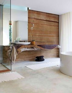 I'm hyperventilating: half a tree trunk as a vanity, rammed earth wall, modern natural, light well (probably a recessed fixture) over frameless mirror . Westcliff pavilion/Silvio Rech Lesley Carstens architecture and interiors Bathroom Inspiration, Interior Inspiration, Interior Architecture, Interior And Exterior, Farmhouse Interior, Ideas Baños, Natural Stone Wall, Natural Wood, Natural Light