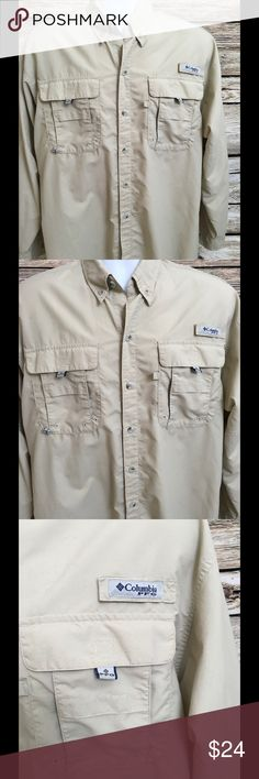 """Columbia PFG Size Medium Men's Long Sleeve Shirt Omni-Shade Long Sleeve Button Front 2 chest Velcro poockets Perfect for camping, hiking, or fishing Vented Back Measurements: Chest - 25.5"""" (doubled 51"""") Shoulders - 22"""" Length (down back)-32"""" Columbia Shirts"""