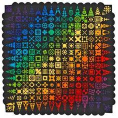 """Dear Jane"" rainbow quilt"