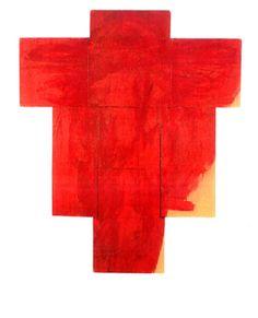Arnulf Rainer Kreuz rot/gelb, 1956/1957, olej na drewnie, 194 x 160 cm Arnulf Rainer, Christ, Flag, Contemporary Art, Crosses, Yellow, Red, Science, Flags
