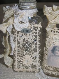 Wayside Treasures: More altered bottle fun.this would a good Super Saturday project for R. Altered Bottles, Vintage Bottles, Bottles And Jars, Glass Jars, Perfume Bottles, Wine Bottle Crafts, Mason Jar Crafts, Bottle Art, Bottle Lamps