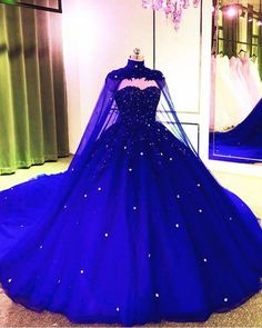 Tulle Ball Gown Wedding Dress With Cape - 2020 New Style Vintage Wedding Dress Ball Gown With Cape – alinanova - Tulle Ball Gown, Ball Gowns Prom, Ball Gown Dresses, Blue Ball Gowns, Tulle Balls, Royal Ball Gowns, Royal Blue Gown, Maternity Bridesmaid Dresses, Cute Prom Dresses