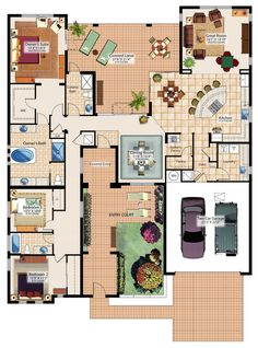 Love the idea that all the bedrooms are together. Formal living can be separated from casual. Just missing the walk-in- closet space in bed#2...- BTW ,given by the sheer number of pins I can see a huge tilt (change) towards this kind of living. Always thought my choices (in floor plans) was not in-line with the majority.