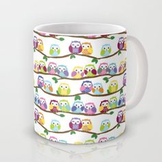 Colorful Owls on Branches Pattern Mug
